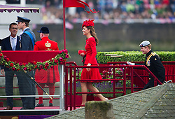 © Licensed to London News Pictures. 03/06/2012. London, UK. Prince WIlliam, Catherine Duchess of Cambridge and Prince Harry on board Royal Barge Spirit of Chartwell during the Jubilee Pageant on the River Thames, London on June 03,2012 as part of The Diamond Jubilee celebrations. Great Britain is celebrating the 60th  anniversary of the countries Monarch HRH Queen Elizabeth II accession to the throne . Photo credit : Ben Cawthra/LNP