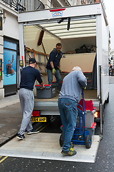 © Licensed to London News Pictures. 20/02/2018. London, UK. Removal men take away stock from Jamie Oliver's Barbecoa steak restaurant in Piccadilly. Mr Oliver was forced to closed another Barbecoa restaurant at One New Exchange blaming Brexit and heavy trading losses. Sine then, it has been reported Mr Oliver has set up a new trading company,  Photo credit: Ray Tang/LNP