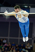 James Hall of Great Britain on the horizontal bar  during the The Superstars of Gymnastics event at the O2 Arena, London, United Kingdom on 23 March 2019.