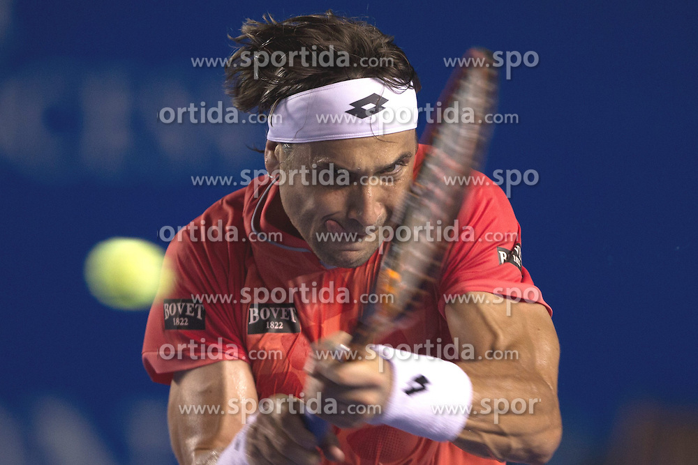 Spain's David Ferrer returns the ball during the men's singles match against Australia's Bernard Tomic at the Abierto Mexicano Telcel tennis tournament in Acapulco, Guerrero, Mexico, Feb. 26, 2015. Ferrer won 2-1. EXPA Pictures &copy; 2015, PhotoCredit: EXPA/ Photoshot/ Alejandro Ayala<br /> <br /> *****ATTENTION - for AUT, SLO, CRO, SRB, BIH, MAZ only*****