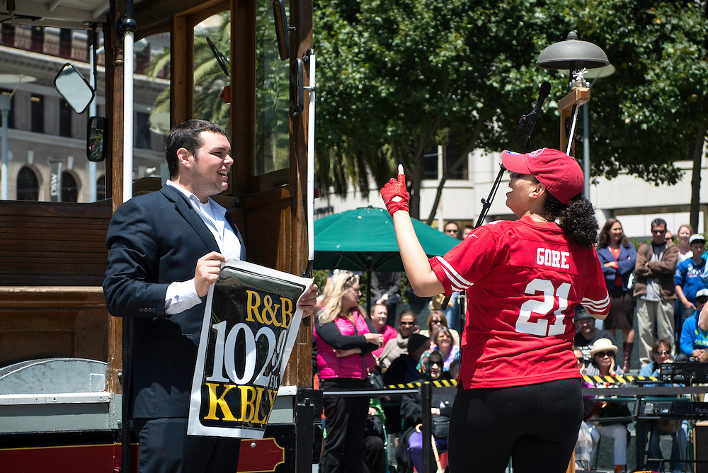 Kimmie Taylor of KBLX makes her first appearance as one of the amateur charity bell ringing contestants at the 50th Cable Car Bell Ringing Competition in San Francisco's Union Square | July 11, 2013