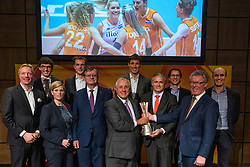 31-01-2019 NED: Kick-off World Championship  Volleybal 2022, Arnhem<br /> Presentation of the kick off World Championship Volleyball held in Netherlands an Poland / (L-R) Jan van Dellen – wethouder Arnhem, Nathan Stukker – wethouder Apeldoorn, Gerda IJff – projectmanager sport Rotterdam, Guido Davio, Aleksandar Boričić, Ary S. Graça, Bas van de Goor, Peter Sprenger, Niels Markensteijn, Jan Markink, Michel Everaert