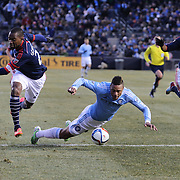 José Gonçalves, (left), New England Revolution, is sent off for his foul on Khiry Shelton, NYCFC, during the New York City FC v New England Revolution, inaugural MSL football match at Yankee Stadium, The Bronx, New York,  USA. 15th March 2015. Photo Tim Clayton
