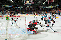 KELOWNA, CANADA - JANUARY 18: Brody Willms #35 of the Moose Jaw Warriors poke checks Carsen Twarynski #18 of the Kelowna Rockets on January 18, 2017 at Prospera Place in Kelowna, British Columbia, Canada.  (Photo by Marissa Baecker/Shoot the Breeze)  *** Local Caption ***