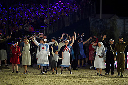 © Licensed to London News Pictures. 15/05/2016. Windsor, UK.  A reenactment of war time life in the arena. An evening event held at the Royal Windsor Horse show to celebrate the 90th birthday of HRH Queen Elizabeth II. Acts from arounds the world have been invited to perform at the evening event, set in the grounds of Windsor Castle. Photo credit: Ben Cawthra/LNP