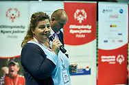 Katowice, Poland - 2017 September 03: Joanna Styczen - Lasocka (National General Director of Special Olympics Poland) speaks while Awarding Ceremony during European Unified Volleyball Tournament 2017 at Spodek Hall on September 03, 2017 in Katowice, Poland.<br /> <br /> Adam Nurkiewicz declares that he has no rights to the image of people at the photographs of his authorship.<br /> <br /> Picture also available in RAW (NEF) or TIFF format on special request.<br /> <br /> Any editorial, commercial or promotional use requires written permission from the author of image.<br /> <br /> Image can be used in the press when the method of use and the signature does not hurt people on the picture.<br /> <br /> Mandatory credit:<br /> Photo by © Adam Nurkiewicz / Mediasport