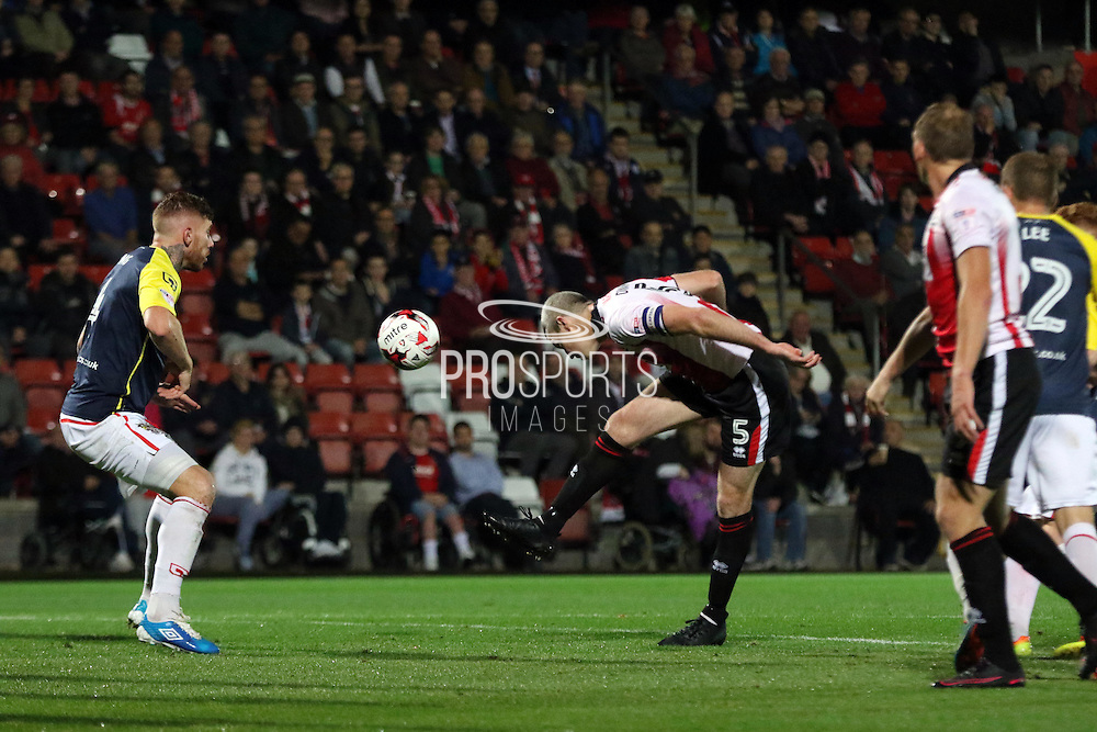 Aaron Downes during the EFL Sky Bet League 2 match between Cheltenham Town and Stevenage at Whaddon Road, Cheltenham, England on 27 September 2016. Photo by Carl Hewlett.