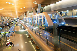 Interior of modern Hamad International Airport inn Doha, Qatar
