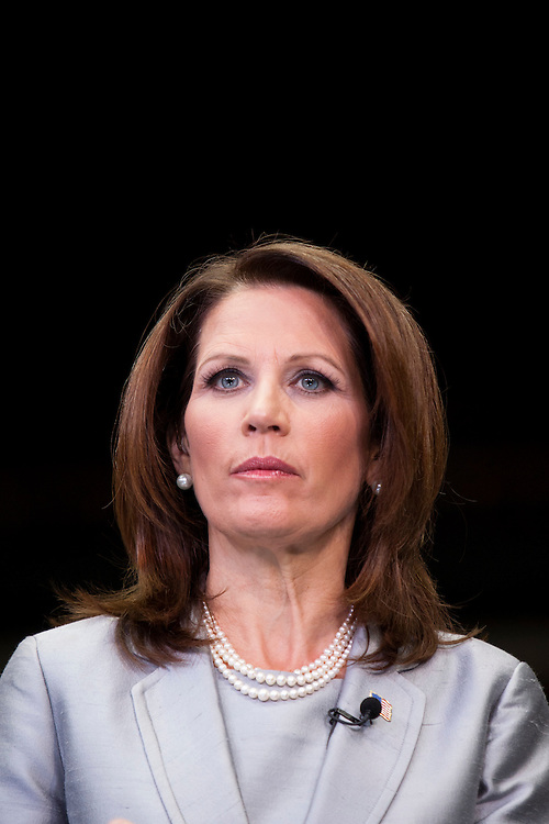 Republican presidential hopeful Michele Bachmann participates in a television interview after the Republican presidential debate on Thursday, August 11, 2011 in Ames, IA.