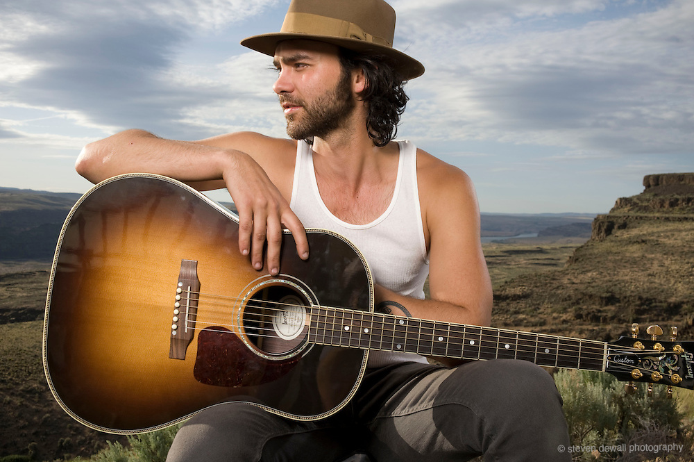 WA - MAY 24: Alejandro Rose-Garcia of Shakey Graves poses for a portrait backstage at the Gorge Amphitheater on May 24, 2014. (Photo by Steven Dewall)