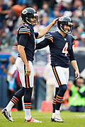 CHICAGO, IL - OCTOBER 22:  Pat O'Donnell #16 congratulates Connor Barth #4 of the Chicago Bears after kicking a field goal during a game against the Carolina Panthers at Soldier Field on October 22, 2017 in Chicago, Illinois.  The Bears defeated the Panthers 17-3.  (Photo by Wesley Hitt/Getty Images) *** Local Caption *** Pat O'Donnell; Connor Barth