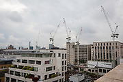 Construction cranes on a London Skyline building the new Google offices in Kings Cross, London, United Kingdom.  (photo by Andrew Aitchison / In pictures via Getty Images)