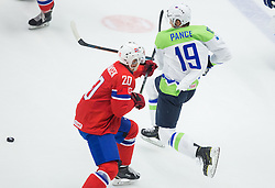 Anders Bastiansen of Norway vs Ziga Pance of Slovenia during Ice Hockey match between Slovenia and Norway at Day 8 in Group B of 2015 IIHF World Championship, on May 8, 2015 in CEZ Arena, Ostrava, Czech Republic. Photo by Vid Ponikvar / Sportida