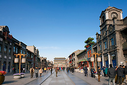 Newly built reproduction historical style tourist pedestrian street in Qianmen Beijing  China