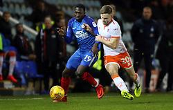 Idris Kanu of Peterborough United battles with Oliver Turton of Blackpool - Mandatory by-line: Joe Dent/JMP - 18/11/2017 - FOOTBALL - ABAX Stadium - Peterborough, England - Peterborough United v Blackpool - Sky Bet League One