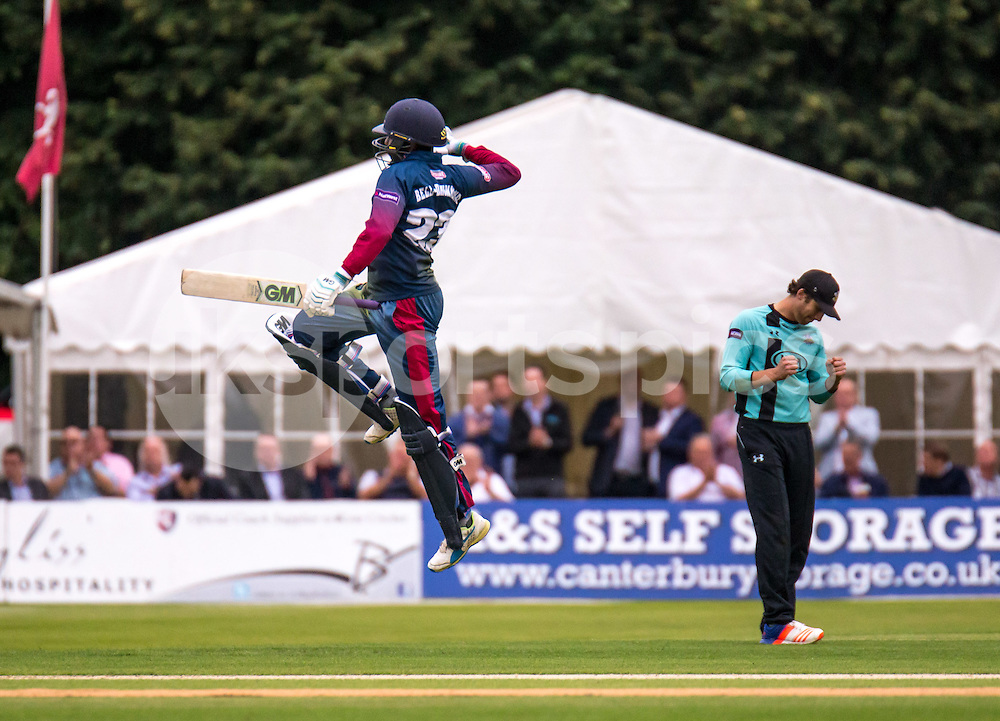 Daniel Bell-Drummond of Kent Spitfires celebrates his century in style during the NATWEST T20 BLAST match between Kent Spitfires and Surrey at The Nevill Ground, Tunbridge Wells, England on the 15th July 2016. Photo by Liam McAvoy.