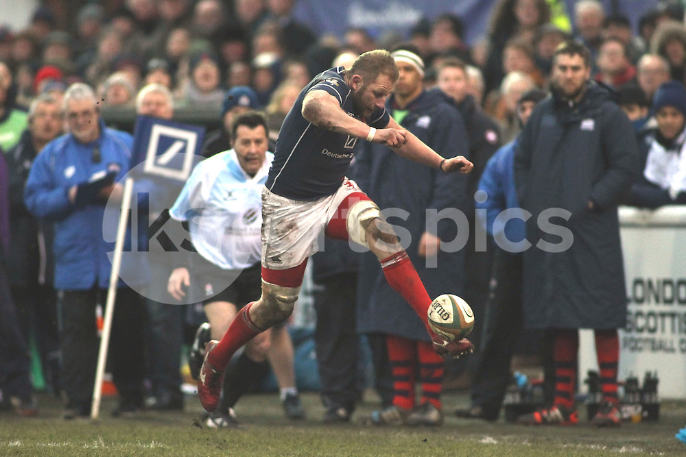 Mark Bright of London Scottish in action during the Green King IPA Championship match between London Scottish &amp; Bristol at Richmond, Greater London on 7th February 2015<br /> <br /> Photo: Ken Sparks | UK Sports Pics Ltd<br /> London Scottish v Bristol, Green King IPA Championship, 7th February 2015<br /> <br /> &copy; UK Sports Pics Ltd. FA Accredited. Football League Licence No:  FL14/15/P5700.Football Conference Licence No: PCONF 051/14 Tel +44(0)7968 045353. email ken@uksportspics.co.uk, 7 Leslie Park Road, East Croydon, Surrey CR0 6TN. Credit UK Sports Pics Ltd