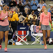 Andrea Hlavackova and  Lucie Hradecka, (left),  Czech Republic, celebrate winning the Women's Doubles Final beating Ashleigh Barty and Casey Dellacqua, Australia, at the US Open. Flushing. New York, USA. 7th September 2013. Photo Tim Clayton