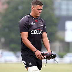 DURBAN, SOUTH AFRICA - JANUARY 23: Jean Droste during the Cell C Sharks training session at Growthpoint Kings Park on January 23, 2018 in Durban, South Africa. (Photo by Steve Haag/Gallo Images)