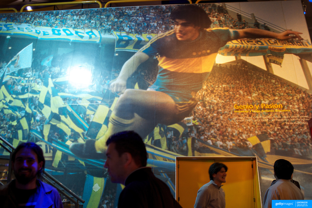 A giant photograph of Diego Maradona playing for Boca Juniors on display in the Museum at Boca Juniors football stadium, La Bombonera, in La Boca region of Buenos Aires, Argentina, 25th June 2010. Photo Tim Clayton..