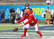 Jan 27, 2019; Orlando, FL, USA; AFC wide receiver Jarvis Landry of the Cleveland Browns (80) tries to make a catch in the NFL Pro Bowl football game at Camping World Stadium.  The AFC beat the NFC 26-7. (Steve Jacobson/Image of Sport)