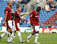 Photo: Paul Greenwood/Richard Lane Photography. <br />Burnley v Cardiff City. Coca-Cola Championship. 26/04/2008. <br />Burnley's Andrew Cole suffers a nasty leg wound after a challenge by Darren Purse