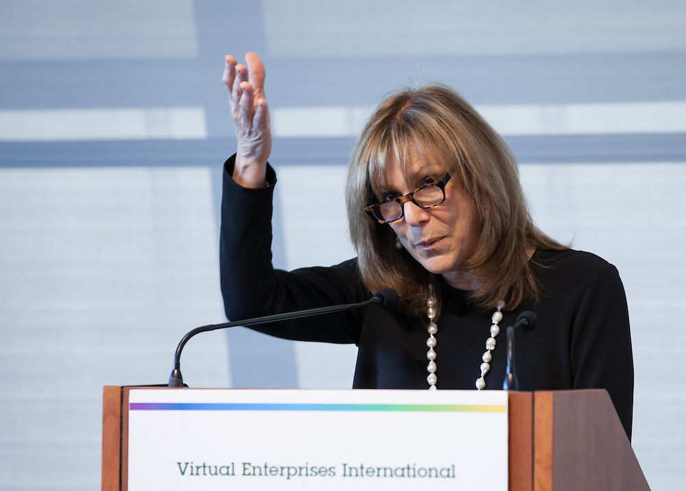 Iris Blanc, Executive Director speaking at Virtual Enterprises International's Global Business Challenge was part of the Youth Business Summit held at NYU's Kimmel Center in New York on April 1, 2014. (Photo: JeffreyHolmes.com)