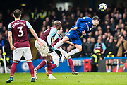 Chelsea (9) Álvaro Morata, West Ham  (3) Aaron Cresswell during the Premier League match between Chelsea and West Ham United at Stamford Bridge, London, England on 8 April 2018. Picture by Sebastian Frej.