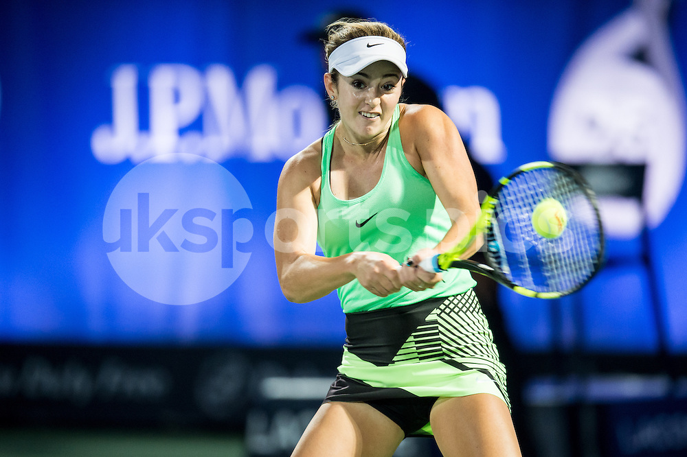 Catherine Bellis of the USA in action during the Dubai Duty Free Tennis Championship at the Dubai International Tennis Stadium, Dubai, UAE on 23 February 2017. Photo by Grant Winter.