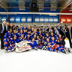 COCHRANE, ON - MAY 4: The Oakville Blades pose for a team photo after winning the 2019 Dudley Hewitt Cup on May 4, 2019 at Tim Horton Events Centre in Cochrane, Ontario, Canada.<br /> (Photo by Christian Bender / OJHL Images)