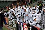 Hartlepool United fans dressed as Storm Troopers enjoying themselves in the stands during the Sky Bet League 2 match between Plymouth Argyle and Hartlepool United at Home Park, Plymouth, England on 7 May 2016. Photo by Graham Hunt.