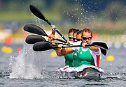 Hungary's Gabriella Szabo leads the Kayak Four (K4) 500m Women in the Canoe Sprint heats