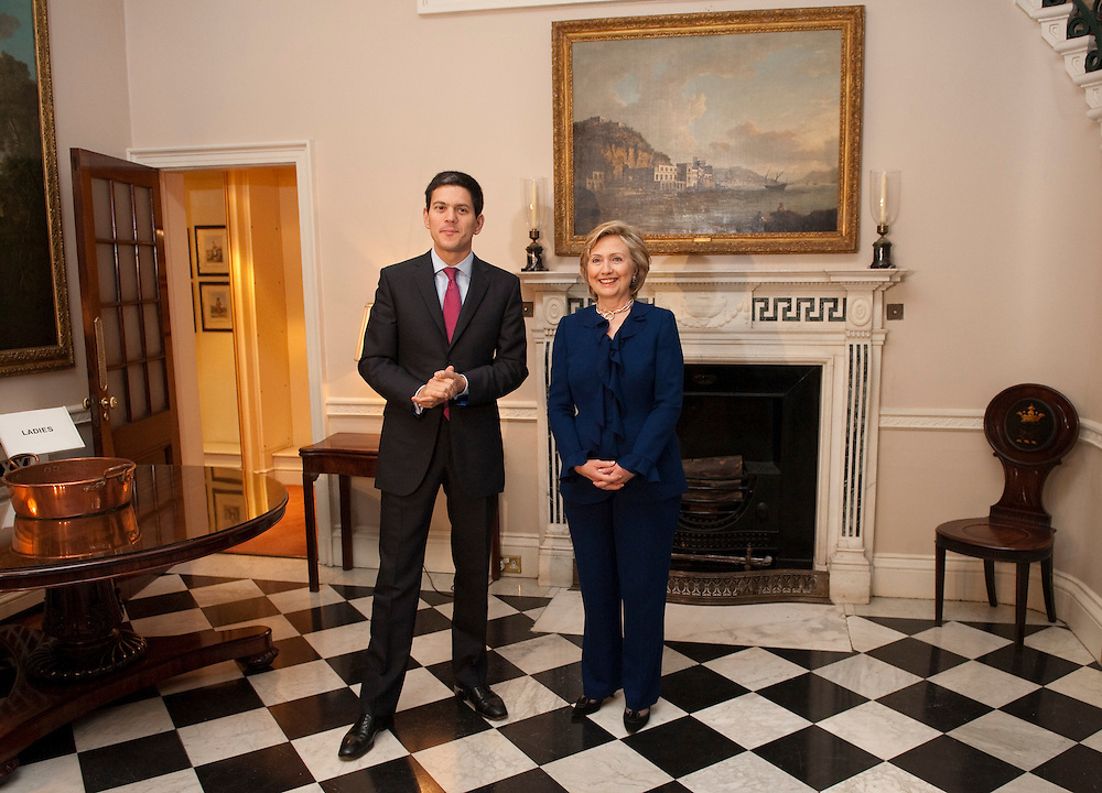 London October 11th  Foreign Secretary  David Miliband  meets US Secretary of State Hilary Clinton on the second leg of her  five days visit to Europe  (Marco Secchi /XianPix)