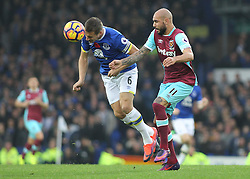 30.10.2016, Goodison Park, Liverpool, ENG, Premier League, FC Everton vs West Ham United, 10. Runde, im Bild Phil Jagielka of Everton and Simone Zaza of West Ham United in action // Phil Jagielka of Everton and Simone Zaza of West Ham United in action during the English Premier League 10th round match between FC Everton and West Ham United at the Goodison Park in Liverpool, Great Britain on 2016/10/30. EXPA Pictures © 2016, PhotoCredit: EXPA/ Focus Images/ Michael Sedgwick<br /> <br /> *****ATTENTION - for AUT, GER, FRA, ITA, SUI, POL, CRO, SLO only*****