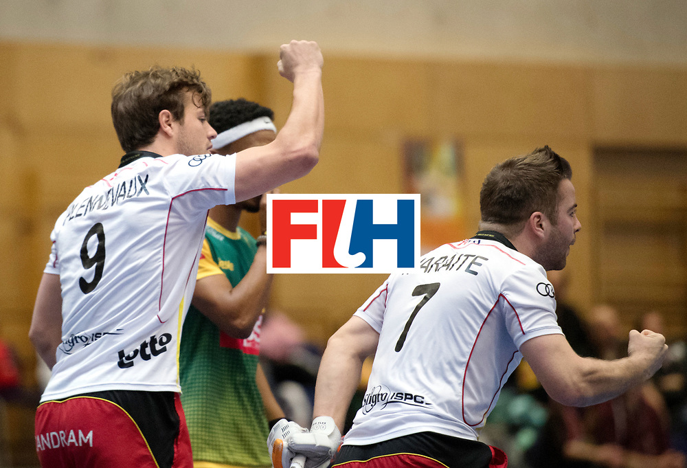 BERLIN - Indoor Hockey World Cup<br /> South Africa - Belgium<br /> foto: Pierre Louis Maraite AND Maxime Plennevaux <br /> WORLDSPORTPICS COPYRIGHT FRANK UIJLENBROEK