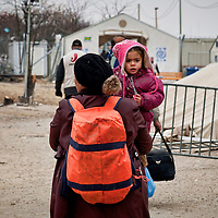 Refugees near the Greece-Macedonian border 9 Febraury