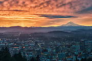 Sunrise over Portland, Oregon from Pittock Mansion.