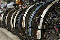 Formerly a city of bicycles, you can still find racks with hundreds of parked bikes throughout Beijing.
