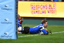 Will Chudley of Bath Rugby scores a try in the first half - Mandatory byline: Patrick Khachfe/JMP - 07966 386802 - 09/11/2019 - RUGBY UNION - The Recreation Ground - Bath, England - Bath Rugby v Northampton Saints - Gallagher Premiership