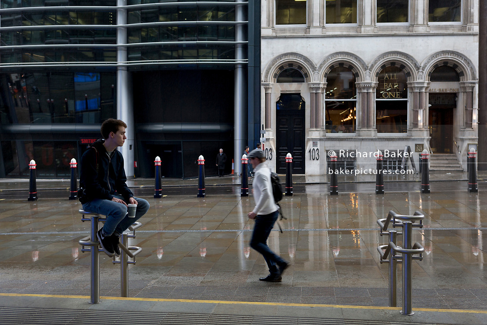 Sam Baker on Cannon Street, 1st May 2017, in the City of London, England.