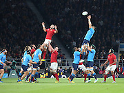 Italy winning a line out during the Rugby World Cup Pool D match between France and Italy at Twickenham, Richmond, United Kingdom on 19 September 2015. Photo by Matthew Redman.