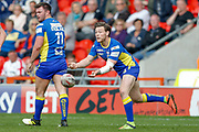 Doncaster RLFC interchange Kieran Cross (15) passes the ball out from the scrum during the Challenge Cup 2018 match between Doncaster and Featherstone Rovers at the Keepmoat Stadium, Doncaster, England on 22 April 2018. Picture by Simon Davies.