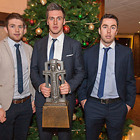 Cathal McInerney, Conor Ryan, and Conor McGrath U21 medal winners all from the Cratloe  Hurling Club, at the Clare U21 Hurling Final Winners Medal presentation in the West County Hotel on Saturday 06 Dec