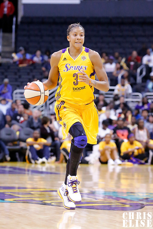 17 June 2014: Los Angeles Sparks forward/center Candace Parker (3) brings the ball up court during the Minnesota Lynx  94-77 victory over the Los Angeles Sparks, at the Staples Center, Los Angeles, California, USA.