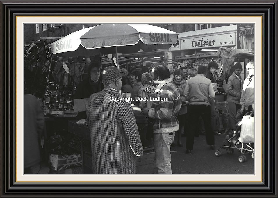 Part Series of 7 Black and White Photographes Depicting Brick Lane Market London,  2 feb 1984<br /> A2/A3 Museum-quality Archival signed Framed Print (Limited Edition of 25) From Series of 7 Limited Edition (25) Large Framed Prints A3 Shot on film neg Black and White pictures Depicting Brick Lane Market London, 2 feb 1984 Photographer Jack Ludlam<br /> £1,200