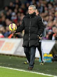 Chelsea Manager, Jose Mourinho holds the ball. - Photo mandatory by-line: Alex James/JMP - Mobile: 07966 386802 - 17/01/2015 - SPORT - football - Swansea - Liberty Stadium  - Swansea  v Chelsea  -