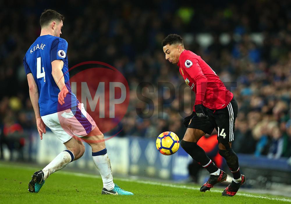 Jesse Lingard of Manchester United takes on Michael Keane of Everton - Mandatory by-line: Robbie Stephenson/JMP - 01/01/2018 - FOOTBALL - Goodison Park - Liverpool, England - Everton v Manchester United - Premier League