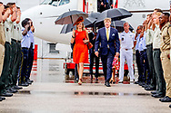 1-7-2018 WILLEMSTAD - King Willem-Alexander and Queen Maxima arrive at the international airport of Curacao for a two-day visit of the royal couple on the occasion of Dia di Bandera. COPYRIGHT ROBIN UTRECHT