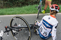 Gabriella Pilote Fortin gets caught in an early crash - 2016 Strade Bianche - Elite Women, a 121km road race from Siena to Piazza del Campo on March 5, 2016 in Tuscany, Italy.