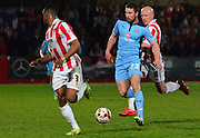 Gearoid Morrisey brings the ball forward during the Sky Bet League 2 match between Cheltenham Town and Cambridge United at Whaddon Road, Cheltenham, England on 14 April 2015. Photo by Alan Franklin.